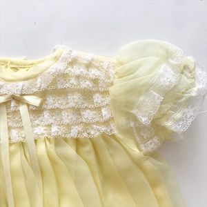 VTG Yellow sheer lined party dress EVC 6 months